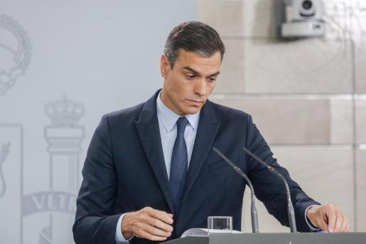 El presidente del Gobierno en funciones, Pedro Sánchez, ofrece una rueda de prensa.