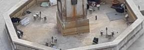 El Obelisco se queda sin agua y con basura