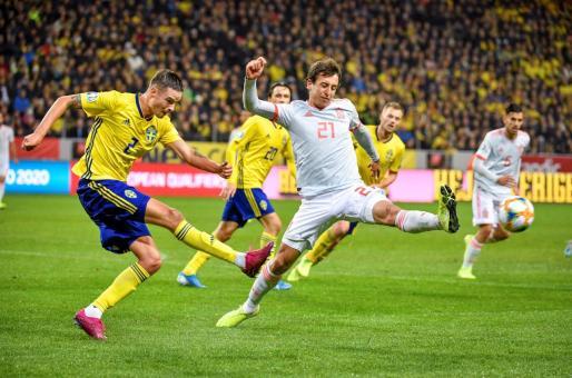 Un momento del partido disputado entre Suecia y España en Estocolmo.