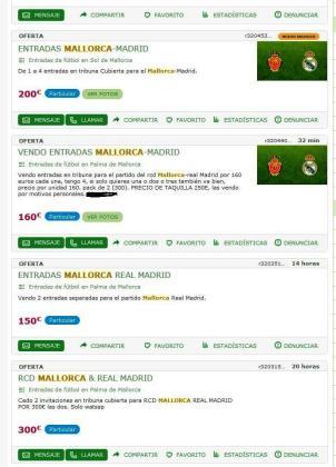 Imagen de una de las páginas en la que se ponen a la venta entradas e invitaciones para el partido entre el Real Mallorca y el Real Madrid.