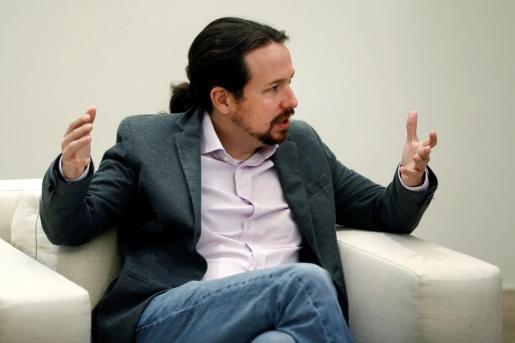 El líder de Unidas Podemos, Pablo Iglesias, durante la reunión que ha mantenido con Pedro Sánchez.