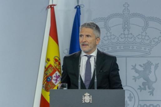 El ministro del Interior en funciones, Fernando Grande-Marlaska, ofrece una rueda en el Palacio de la Moncloa.