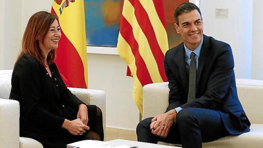Francina Armengol y Pedro Sánchez, en un encuentro en La Moncloa.