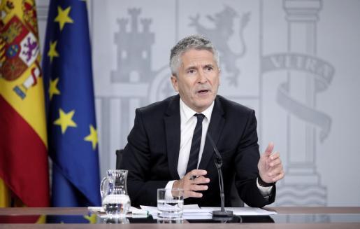 El ministro del Interior en funciones, Fernando Grande-Marlaska, comparece en rueda de prensa.