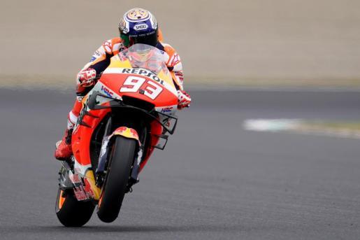 El español Marc Márquez, durante los entrenamientos libres del Gran Premio de Japón de MotoGP.
