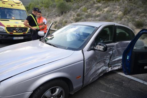 Imagen del Jaguar tras el accidente.