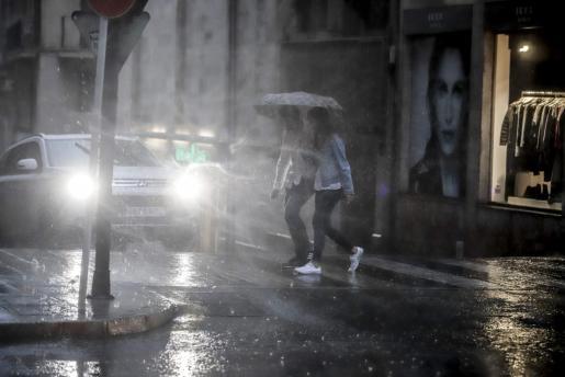 Imagen del último temporal de lluvias registrado este verano en Mallorca.