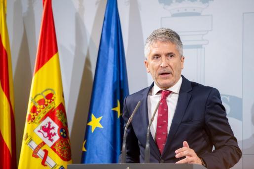 El ministro del Interior en funciones, Fernando Grande-Marlaska en rueda de prensa.