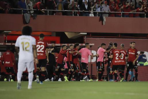 Los jugadores del Real Mallorca celebran el tanto de Lago Junior ante el Real Madrid en Son Moix.