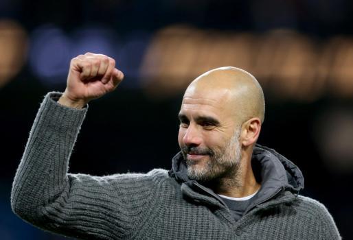 El entrenador del Manchester City, Pep Guardiola, durante un partido del Manchester City.