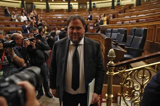 Imagen de archivo del líder de ERC, Oriol Junqueras, en el Congreso.