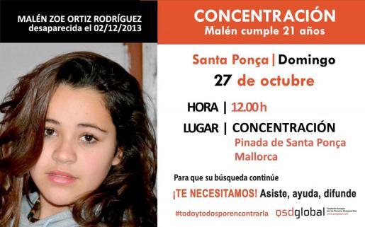 Imagen del cartel que anunica la concentración en Santa Ponça.