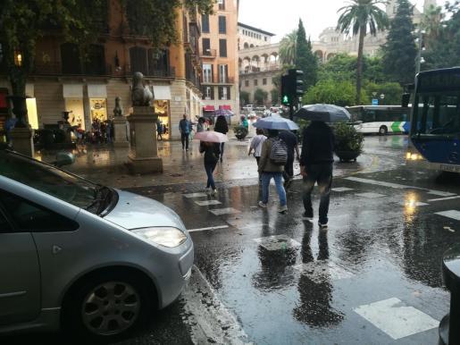 Peatones con paraguas cruzando un paso de cebra bajo la lluvia.