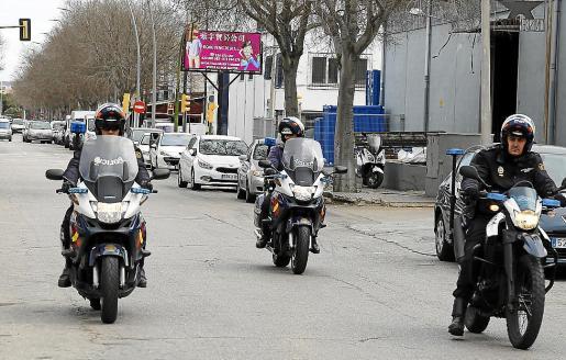 Policías, durante una batida en Son Castelló en busca del sospechoso.