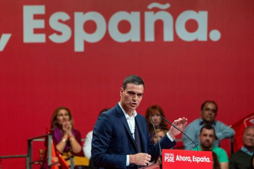 Pedro Sánchez en un acto electoral celebrado en Alcázar de San Juan (Ciudad Real).
