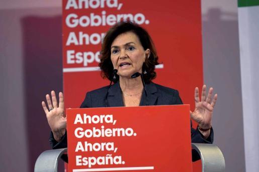 Carmen Calvo, vicepresidenta del Gobierno en funciones, en un acto electoral del PSOE.