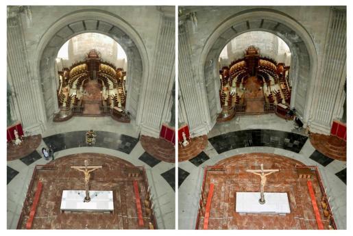 En las imágenes difundidas por Moncloa se aprecia el estado actual del espacio a la espera del pulido final de las piedras (foto de la derecha) , y su comparación con la imagen anterior a la exhumación de Franco (foto de la izquierda).
