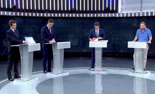Imagen del debate de los candidatos del 28A, en el que no estaba Vox porque no tenía representación parlamentaria.