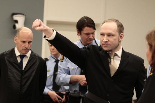 Anders Behring Breivik, esta mañana en el juicio.