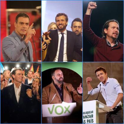 Los candidatos en el cierre de campaña de las elecciones generales del 10N.