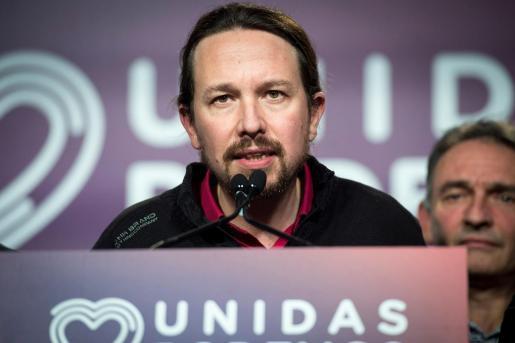 El secretario general de Unidas Podemos, Pablo Iglesias, comparece ante los medios de comunicación para analizar los resultados en las elecciones.