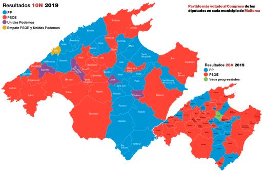Mapa con los resultados de los pueblos de Mallorca tras las elecciones del 10N.