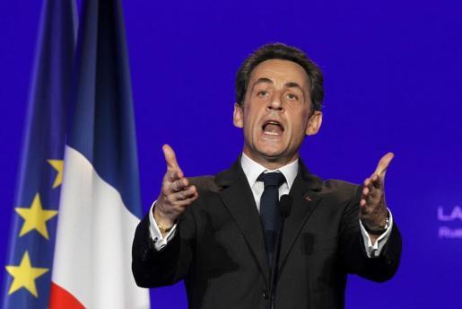 Nicolas Sarkozy, durante un mitin de su campaña presidencial.