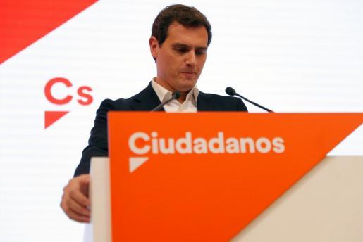 Albert Rivera, exlíder de Ciudadanos, durante su comparecencia en rueda de prensa para comunicar que deja la política.