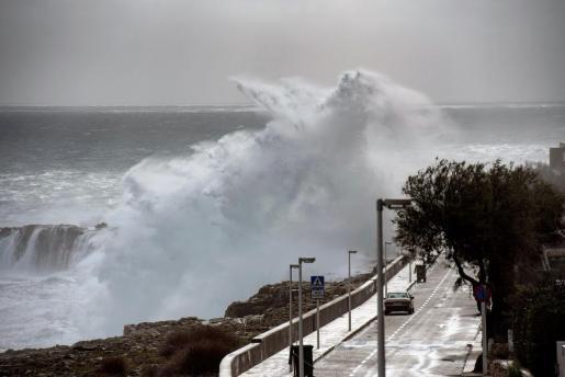 Una ola rompe en S'Algar. El temporal ha activado diversas alertas de la Aemet por fenómenos meteorológicos adversos. La alerta naranja por fenómenos costeros se extenderá hasta mañana, con olas de 7 metros de altura.