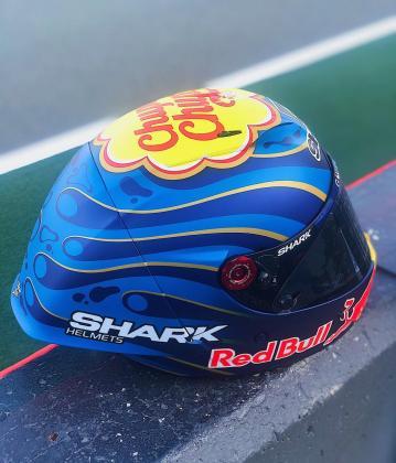 Imagen del casco que luce Jorge Lorenzo este fin de semana en Cheste.
