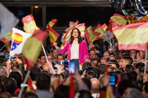 Inés Arrimadas, durante un mitin en una imagen de archivo.