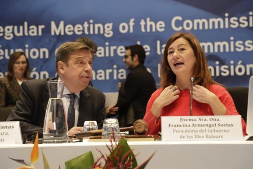 El ministro Luis Planas y la presidenta Francina Armengol, en la reunión del Icaat en Palma.