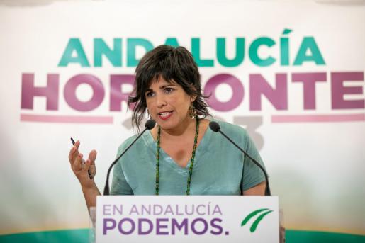 La coordinadora general de Podemos Andalucía y presidenta del grupo parlamentario de Adelante Andalucía, Teresa Rodríguez.