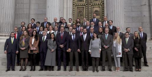 El presidente de Vox, Santiago Abascal, junto con los otros 51 diputados electos de la formación posan en la escalinata del Congreso