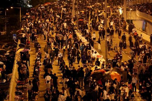 Bloqueo de las vías de las Politécnica de Hong Kong.