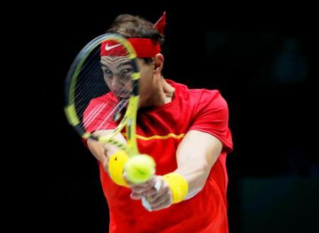 Rafa Nadal en el partido contra Khachanov