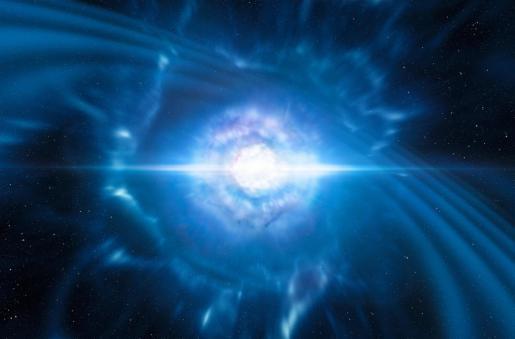 Imagen virtual del primer avistamiento de luz procedente de ondas gravitacionales.