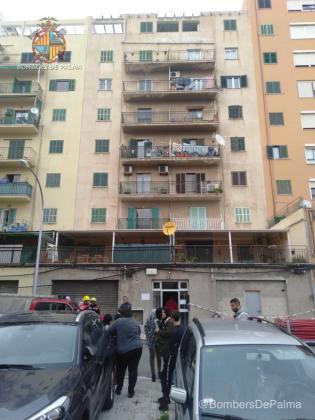 Edificio desalojado en la calle Sureda de Palma.