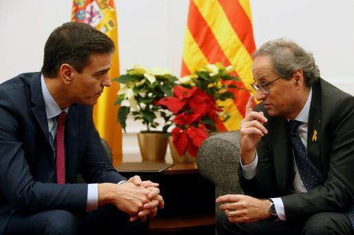 El presidente del Gobierno, Pedro Sánchez, y el presidente de la Generalitat, Quim Torra, se reunieron en el Palau de Pedralbes, con la asistencia de algunos ministros y consellers.