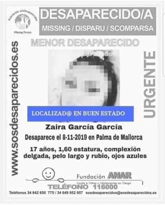 Cartel para informar de que la joven ya ha sido hallada.