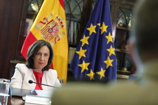 La ministra de Defensa en funciones, Margarita Robles, durante la recepción a los Jefes de las misiones internacionales en las que participa España. Imagen de archivo.