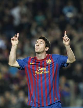 Lionel Messi celebra un gol contra el Mallorca en el Camp Nou durante un partido disputado en octubre de 2011.