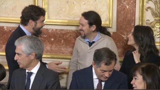 Iván Espinosa de los Monteros, Pablo Iglesias e Inés Arrimadas, muy divertidos.