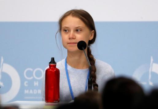 La activista sueca Greta Thunberg durante su participación este lunes en una rueda de prensa de jóvenes activistas climáticos, en la XXV Cumbre de la Convención de Cambio Climático de Naciones Unidas (COP25).