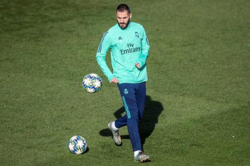 El delantero francés del Real Madrid Karim Benzema durante el entrenamiento.