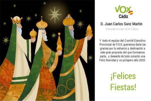 La felicitación de Vox Cádiz.