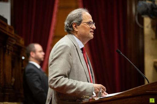 Quim Torra durante su intervención en el Parlament catalán.