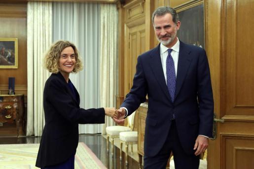 El rey Felipe VI recibe en audiencia a la presidenta del Congreso, Meritxell Batet.