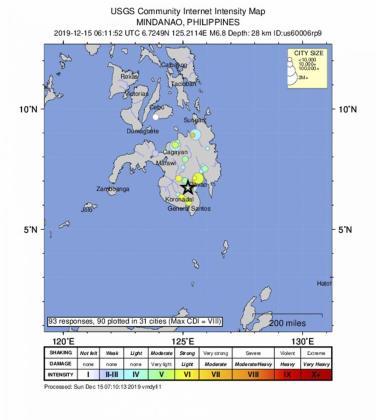 Detalle del lugar donde ha tenido lugar el terremoto.