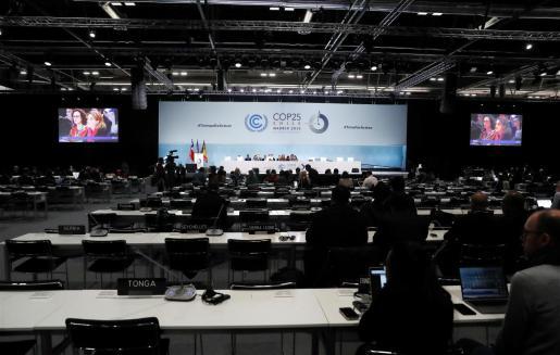 Vista general durante la reunión de la Cumbre del Clima de Madrid (COP25) celebrada este domingo en Madrid.